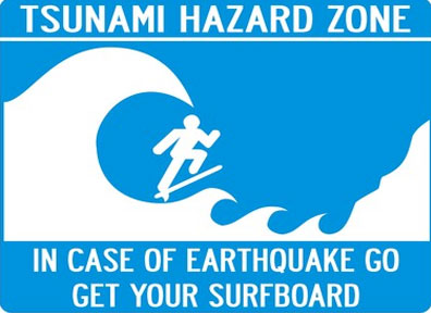 tsnami wave warning sign surfing